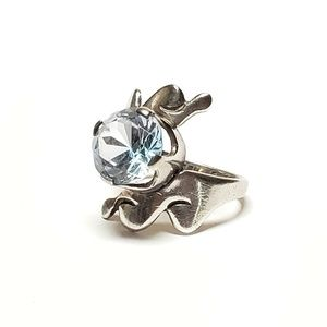 Vintage Sterling Topaz Ring Abstract Design  Perha